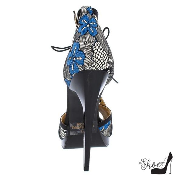 Alba Shoes - Riley Black & Blue  Lace T-Strap Open Toe Heels
